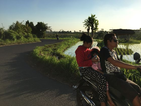 Family outing by motorbike